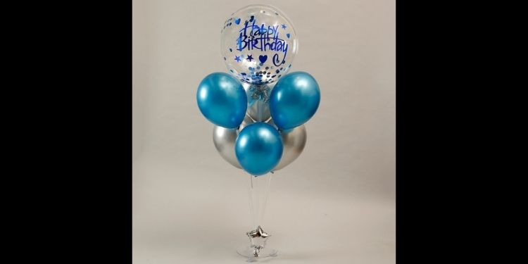 Blue Theme Birthday Balloon Bouquet