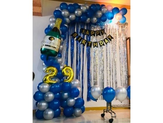 Blue and Silver Shower Decor