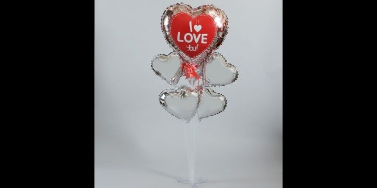 Silver And Red Love Balloon Bouquet