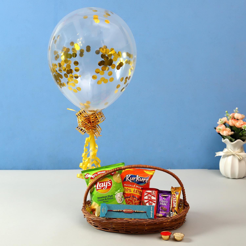 Mera Pyaara Bhai Balloon Arrangement & Capsule Rakhi
