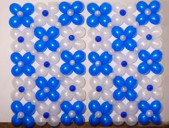 Blue and white themed Balloon Wall