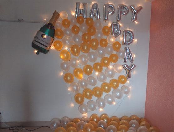 champagne theme decoration: birthday party decorators in delhi