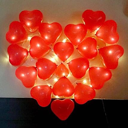 LED Red Heart (30 Balloons)