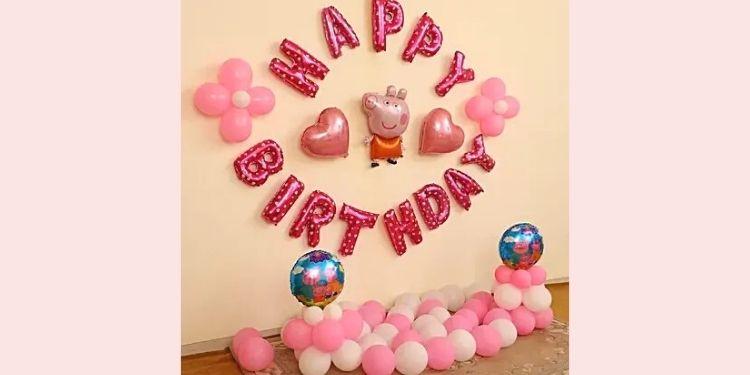 Peppa Pig Themed Birthday Balloon Decor