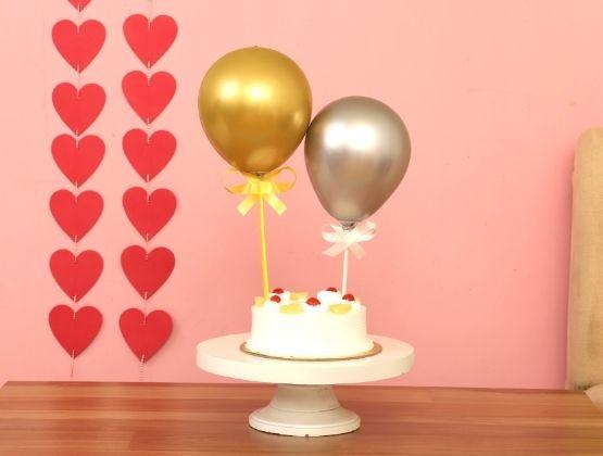 Pineapple Cake & Chrome Balloons