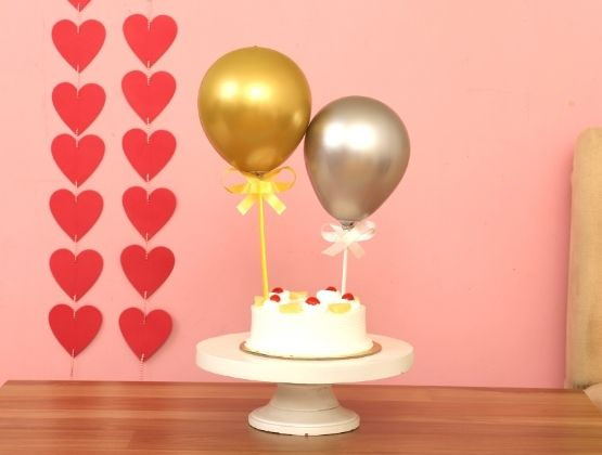 Silver & Golden Chrome Balloons With Pineapple Cake