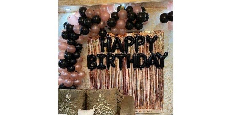 Pink Black Birthday arch Celebration