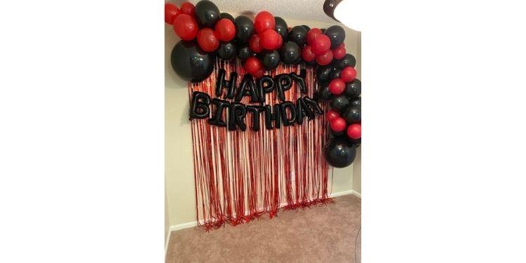 Red Black Birthday Arch Celebration