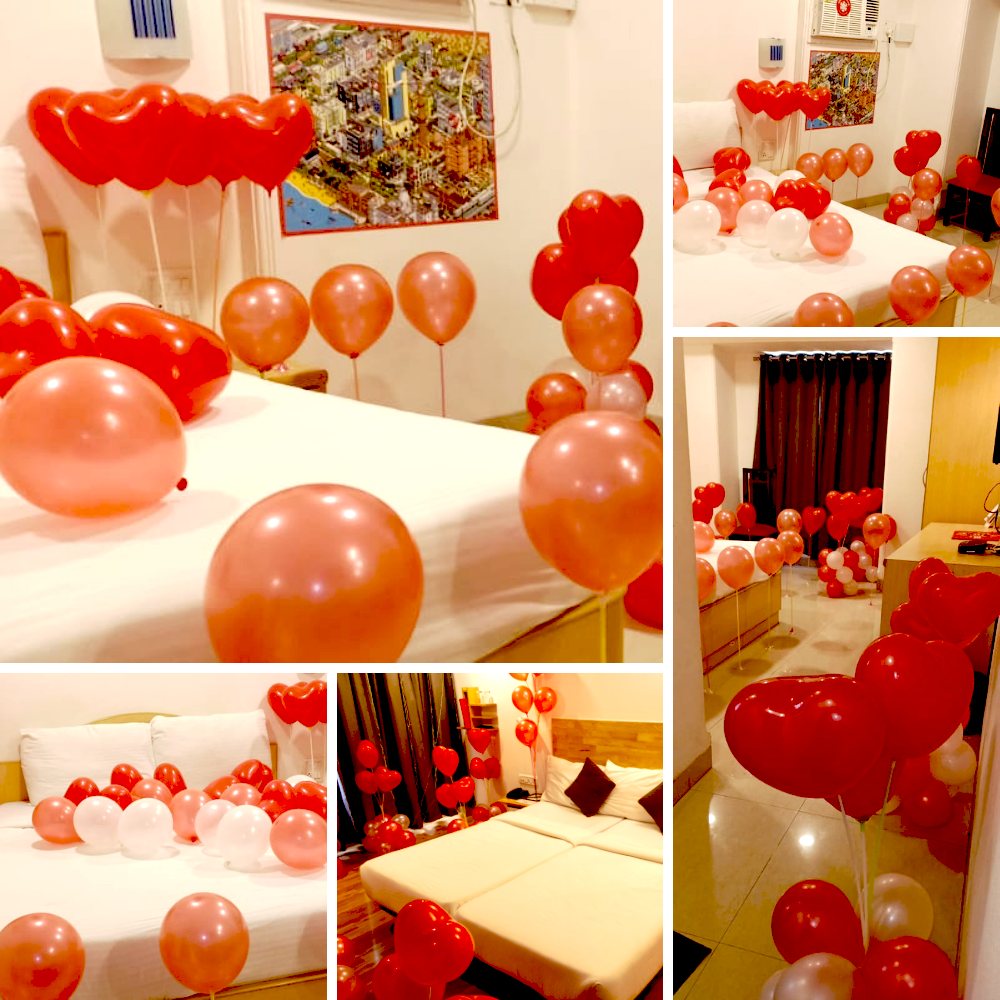 30 heart shape balloons with sticks, 12 red balloons with sticks, 80 balloons red and white