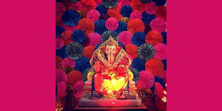Paper Fan Backdrop for Ganesha