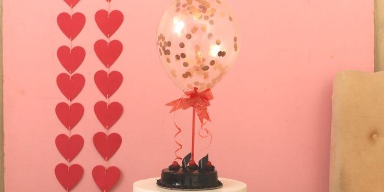 Rose Gold Confetti Balloon & Truffle Cake