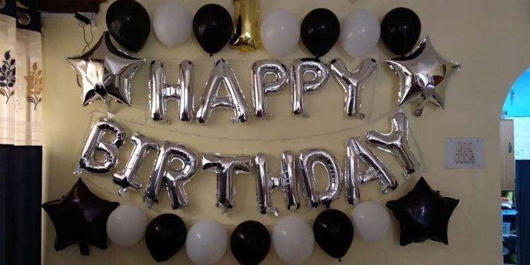 Glittery Birthday Balloon Surprise Decoration in Delhi