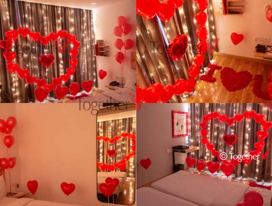 20 Heart shape balloons for making the heart, 1 heart shape foil balloons, 10 heart shape balloons with sticks, 12 normal balloons with sticks, 5 fairy lights, 1/2 kg flower petals
