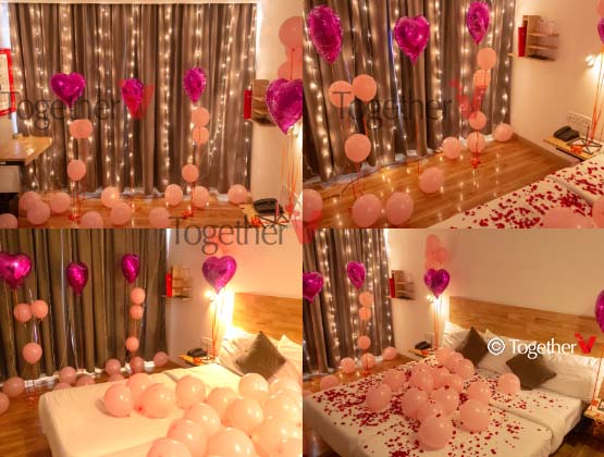 3 purple helium foil balloons, 15 peach color helium balloons, 30 normal air filled balloons, 1/2 kg flower petals