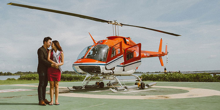 Experience the ultimate flight of luxury on-board a helicopter.