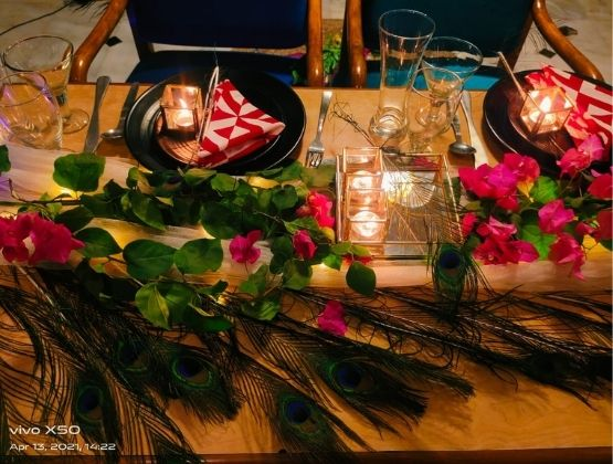 Peacock Feathers & Bougainvillea Flowers Theme Dining