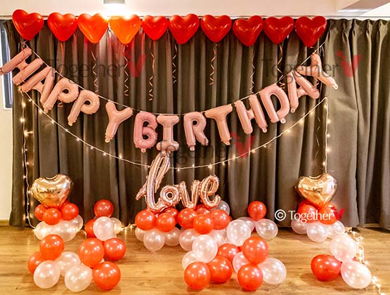 10 Heart Shape balloon with ribbons,Happy Birthday foil balloon(Silver or Golden color),Love foil balloon, 2 heart shape foil balloon,50 red and white balloons,1 fairy light